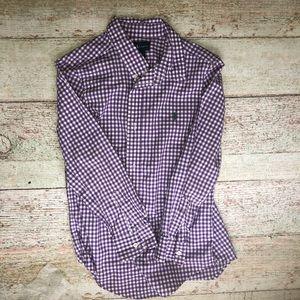Polo boys button up purple/white plaid size 7